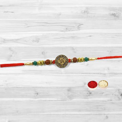 Classy Swastik Rakhi with free Roli Tilak and Chawal on this Raksha Bandhan