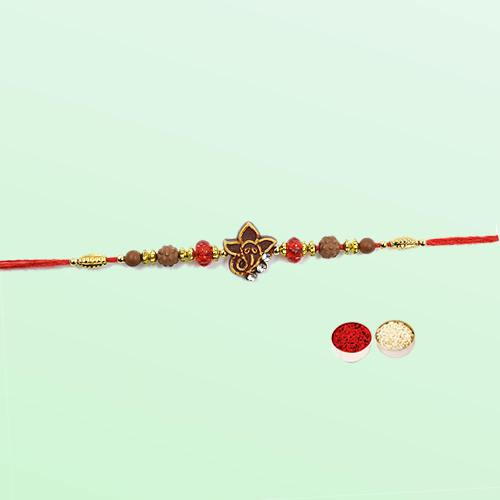 Remarkable Raksha Bandhan Collection of Ganesha Rakhi with free Roli Tilak and Chawal