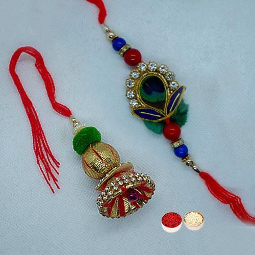 Amazing Fancy Rakhi Set for Bhaiya and Bhabhi with free Roli Tilak and Chawal for this Raksha Bandhan
