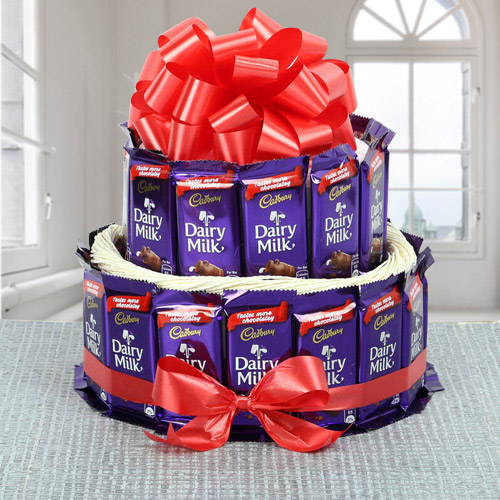 Wonderful 2 Tier Arrangement of Cadbury Dairy Milk Chocolates