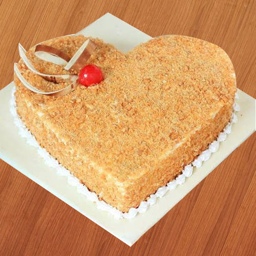 Enticing Heart-Shape Butter Scotch Cake