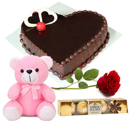 Heart-Shape Tasty Chocolate Cake with Teddy, Red Rose N Ferrero Rocher