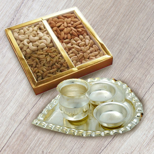 Dry Fruits   Silver Plated Paan Shaped Puja Thali