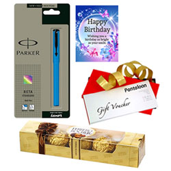 Unique Birthday Treat of Ferrero Rocher, Parker Pen, Card and Pantaloons Voucher