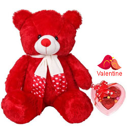 Silky-Soft Red Teddy with Heart Shaped Handmade Chocolates