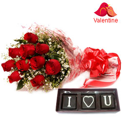 V-day Special Bouquet of Red Roses N I Love You Hand Made Chocolates
