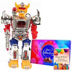 Remarkable Combo of Cadbury Celebration N Birthday Card with Battery Operated Robot