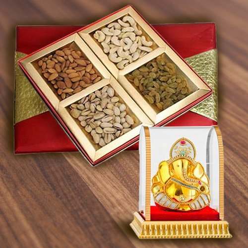 Exceptional Box of Assorted Dry Fruits with Vinayak Idol
