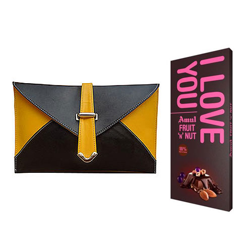 Amazing Spice Art Yellow and Black Ladies Clutch With Amul Chocolate Bar