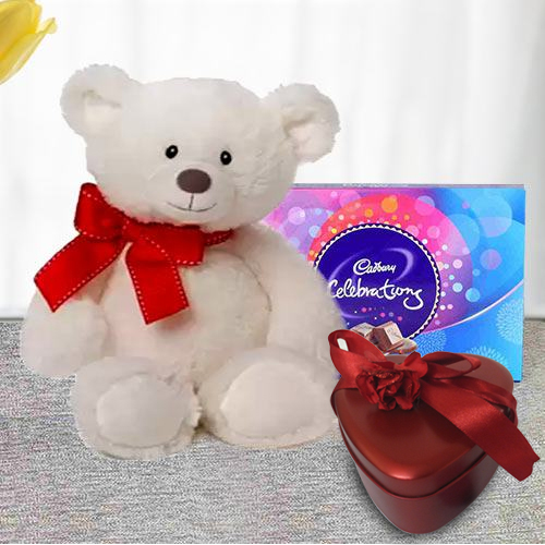 Big White Teddy with Cadbruy Chocolates With Heart Shape Red Tin Box of Handmade Chocolates