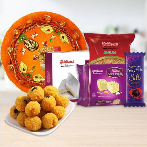 Haldriams Assortment, Cadbury Chocolate n Pooja Thali