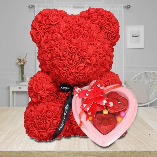 Marvelous Red Rose Teddy Bear with Heart Shape Chocolates