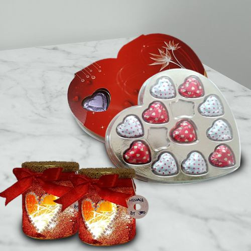 Delicious Heart Shape Chocolates Box with LED Lamp Gift Combo for your Valentine