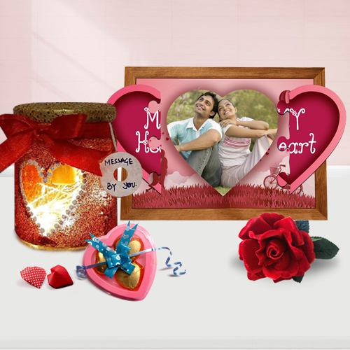 Appealing Personalized Photo Gift Combo for Rose Day