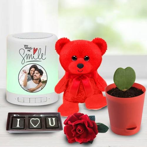 Magnificent V-day Selection of Personalized Photo Bluetooth Speaker with Chocolate, Teddy n Rose