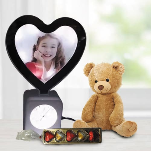 Exclusive Personalized Heart Lamp, Heart Chocolates n Cute Teddy