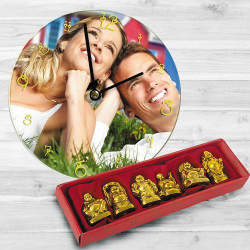 Amusing Personalized Photo Wall Clock with Laughing Buddha