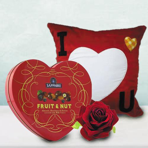 Wonderful Personalized ILU Heart Cushion with Sapphire Heart Chocolate Box n Velvet Rose