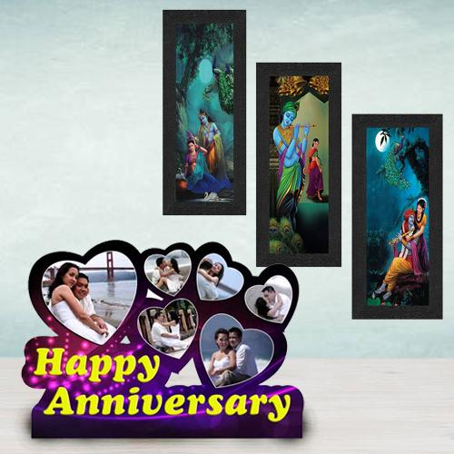 Mesmerizing Personalized Happy Anniversary N Radha Krishna Photo Frame