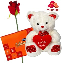 Cadburys Celebration Pack with a silk rose and  A 12 inch Cute Teddy Bear.