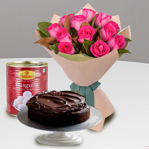 Exquisite 12 Red Roses and Haldiram Rasgulla with 1 Kg Eggless Cake