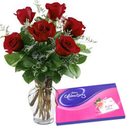 Red Roses N Cadbury Celebrations Combo