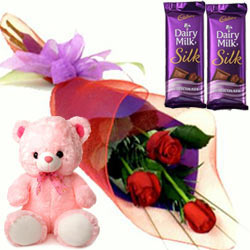 Teddy with Chocolates N Red Roses