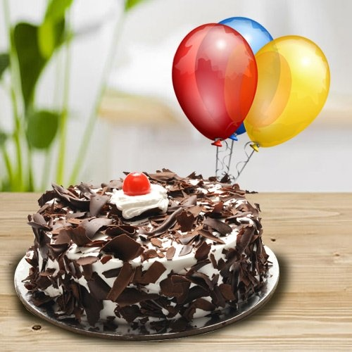 Special Burst of Black Forest Cake with Balloons