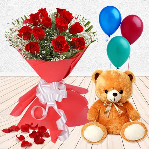 Teddy with Red Roses N Balloons