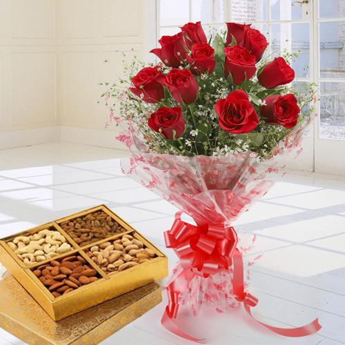 Red Rose Bouquet With Mixed Dry Fruits