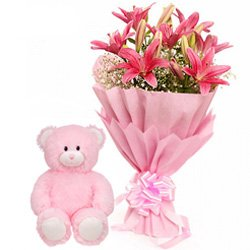 Pink Lilies Bunch with Teddy
