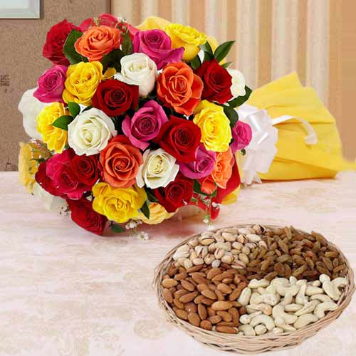 Multicolored Roses with Assorted Dry Fruits