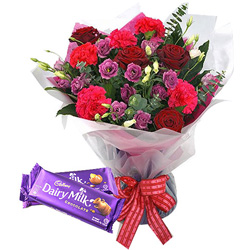 Remarkable Mixed Flowers Bouquet with Cadbury Chocolates