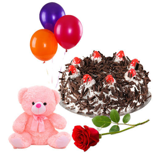 Pretty B Day Delight Single Rose with Fresh Black Forest Cake, Teddy and Balloons Combo