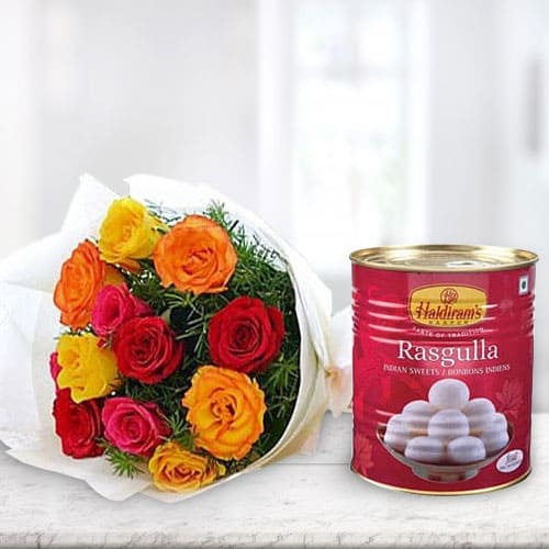 Stunning Mixed Roses Bunch and Haldirams Rasgulla