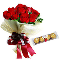 Delectable Ferrero Rocher with Red Roses Bouquet