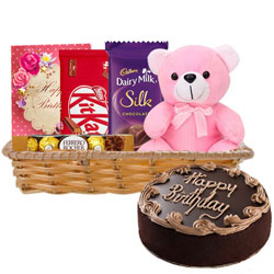 Gift Hamper of Birthday Gifts N Chocolate Cake