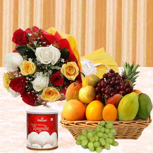 Yummy Haldirams Rasgulla and Mixed Fruits Basket with Bunch of Roses