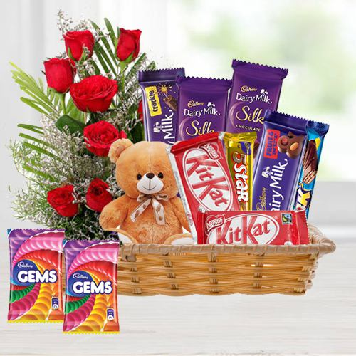 Charming Red Roses Bouquet N Chocolates in a Basket