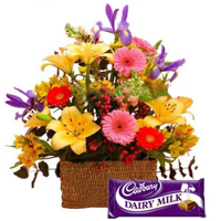 Fresh Flowers N Cadbury Dairy Milk Chocolate