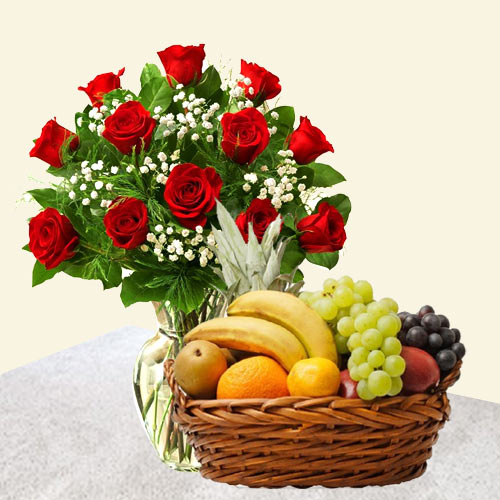 Stunning Red Roses in a Vase and tasty Fruits