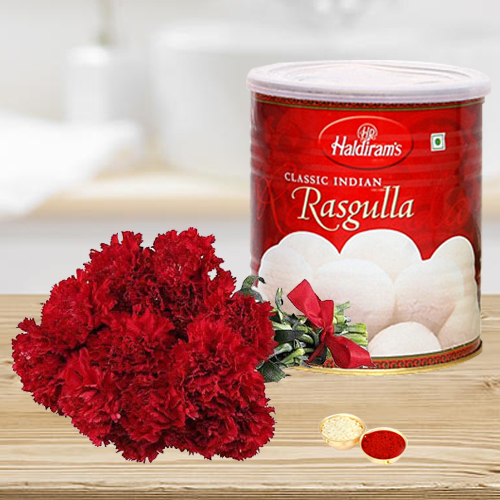 12 Red Carnations Bouquet with Rasgulla