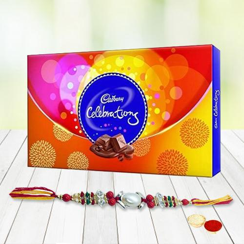 Mouth-Watering Gift of Cadburys Celebration Chocolate Pack with Rakhi, Roli Tilak and Chawal