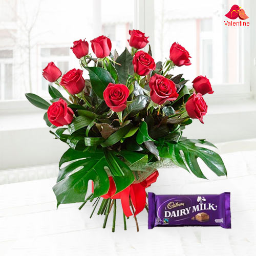 Exclusive Dutch Red Roses With Free Cadbury Chocolate