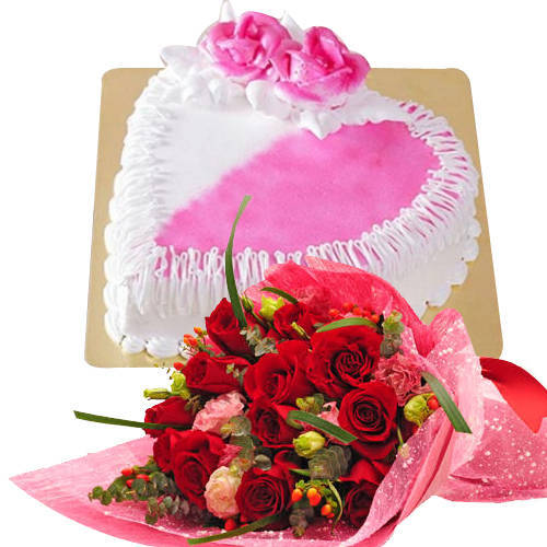 Ideal 12 Red Dutch Roses Bouquet with 1 Kg Heart Shaped Cake