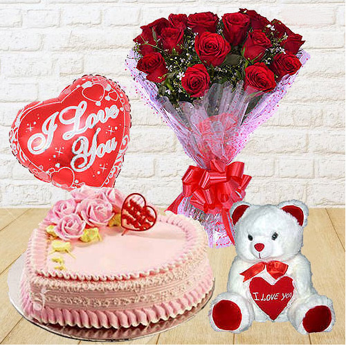 Beautiful Red Roses Bunch with Teddy Bear, Love Cake and Heart Shaped Balloons