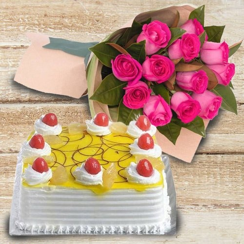 Pink Roses with 1 Kg Eggless Cake