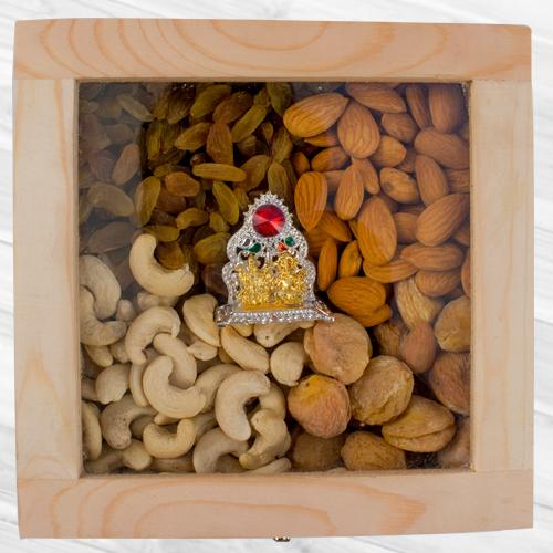 Amazing Wooden Box of Assorted Dry Fruits n Ganesh Laxmi Mandap