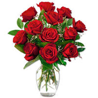 Breathtaking Red Roses in a Glass Vase