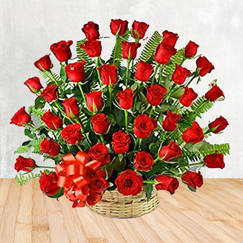 Dazzling Red Roses Basket Arrangement